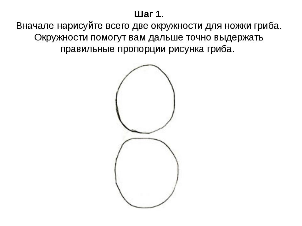 Шаг 1. Вначале нарисуйте всего две окружности для ножки гриба. Окружности пом...