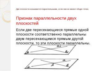 Свойства параллельных плоскостей 1) Если две параллельные плоскости пересечен