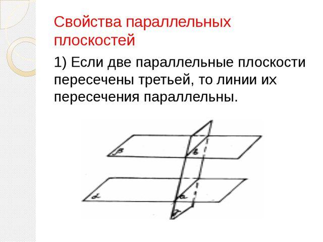 2) Отрезки параллельных прямых, заключённые между параллельными плоскостями,...