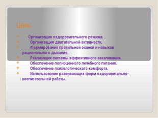 Цель: Организация оздоровительного режима. Организация двигательной активно
