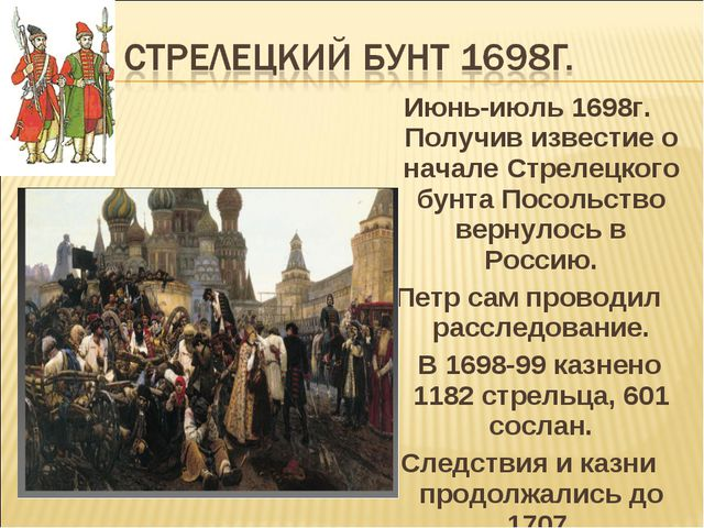 Июнь-июль 1698г. Получив известие о начале Стрелецкого бунта Посольство верну...