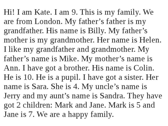 Hi! I am Kate. I am 9. This is my family. We are from London. My father's fat...