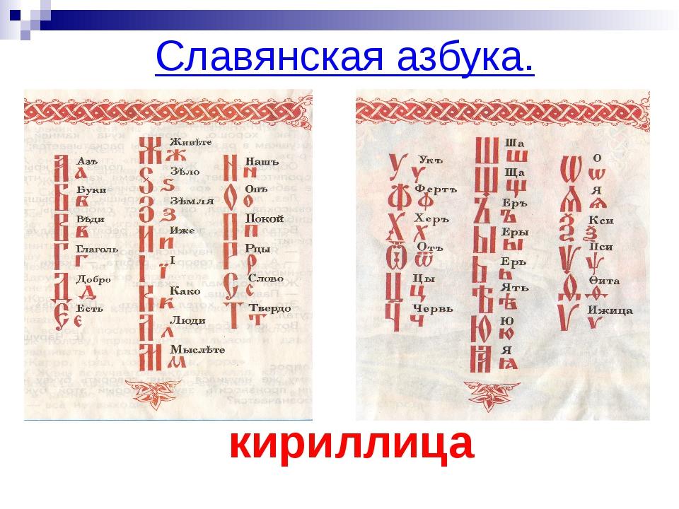 Славянская азбука. кириллица