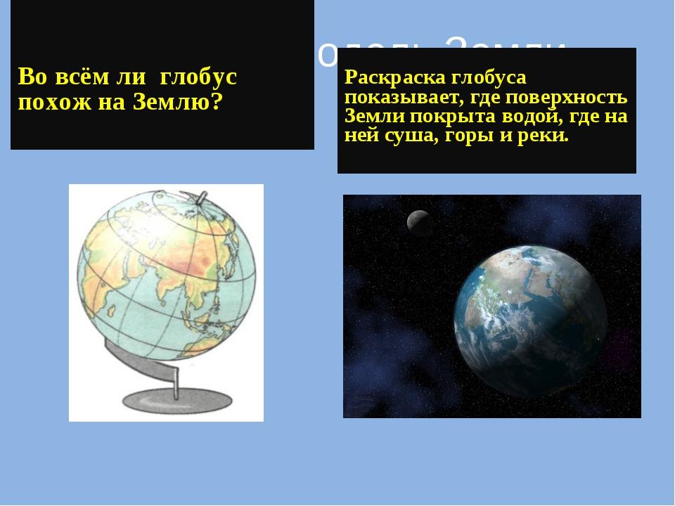 Глобус – модель Земли Во всём ли глобус похож на Землю? Раскраска глобуса пок...