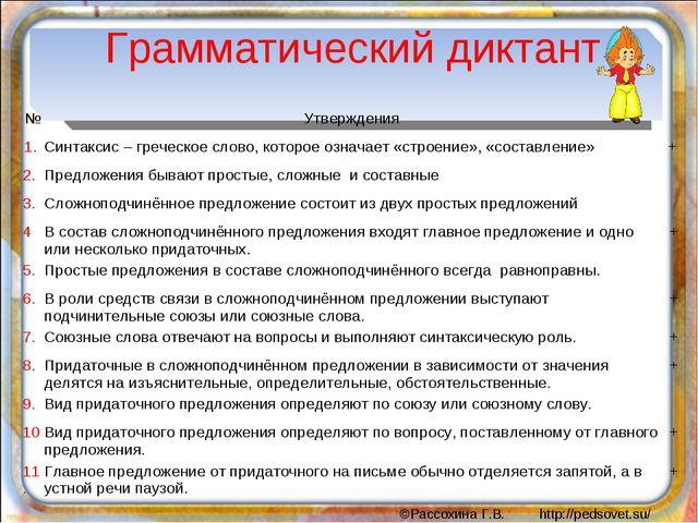 Грамматический диктант №Утверждения 1. Синтаксис – греческое слово, которо...