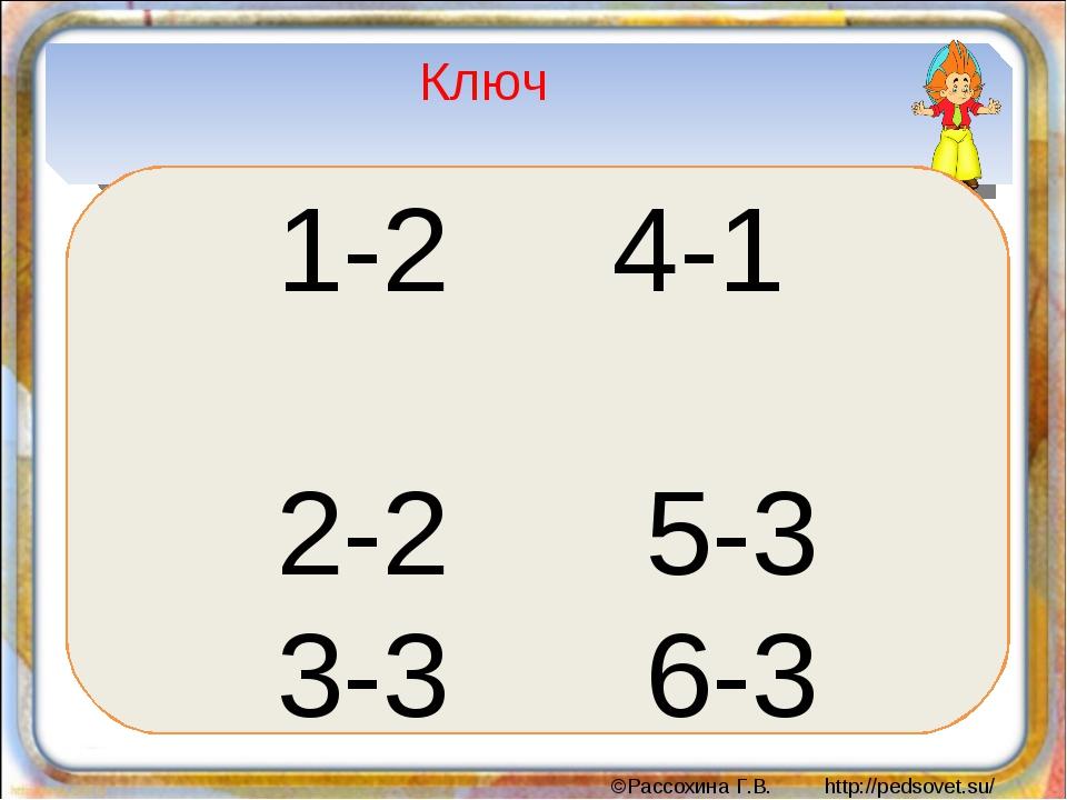 Ключ 1-2 4-1 2-2 5-3 3-3 6-3 ©Рассохина Г.В. http://pedsovet.su/