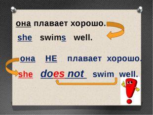 она плавает хорошо. she swims well. она НЕ плавает хорошо. she does not swim