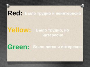 Red: Yellow: Green: Было трудно и неинтересно Было трудно, но интересно Было