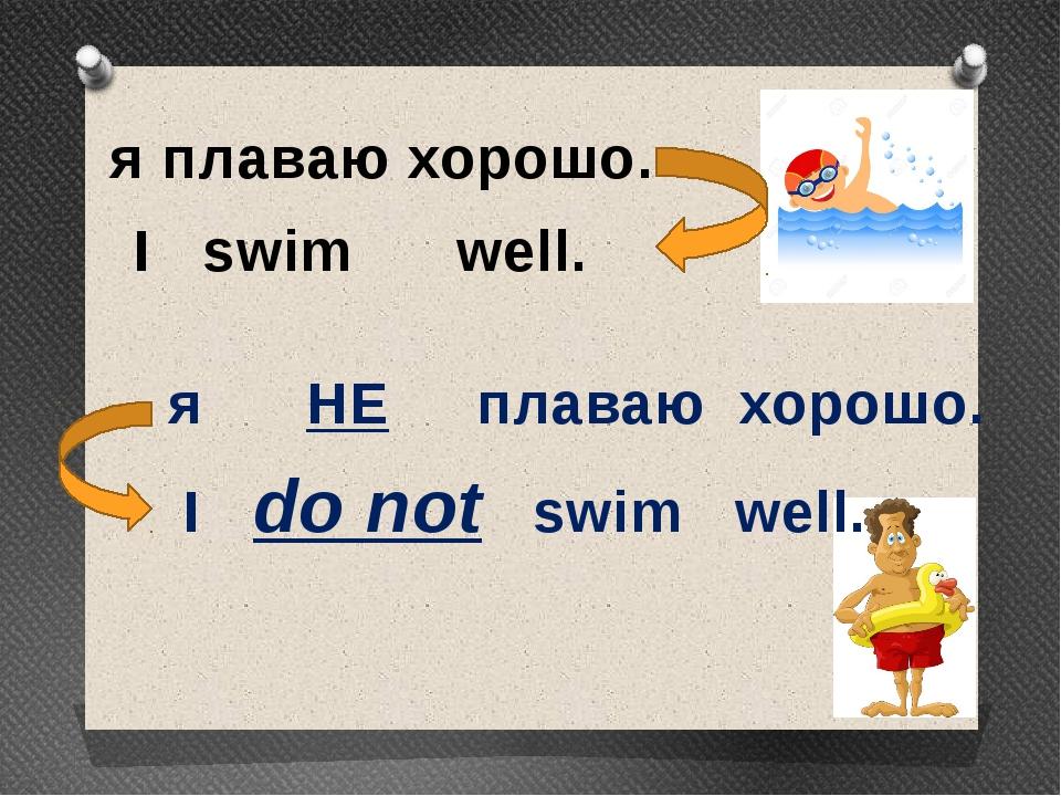я плаваю хорошо. I swim well. я НЕ плаваю хорошо. I do not swim well.