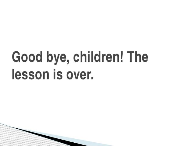 Good bye, children! The lesson is over.