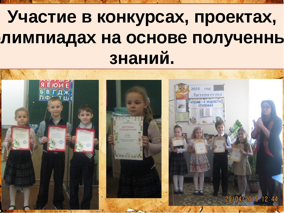 Москва 2015 г. Участие в конкурсах, проектах, олимпиадах на основе полученны...