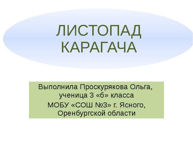 Выполнила Проскурякова Ольга, ученица 3 «б» класса МОБУ «СОШ №3» г. Ясного, О...