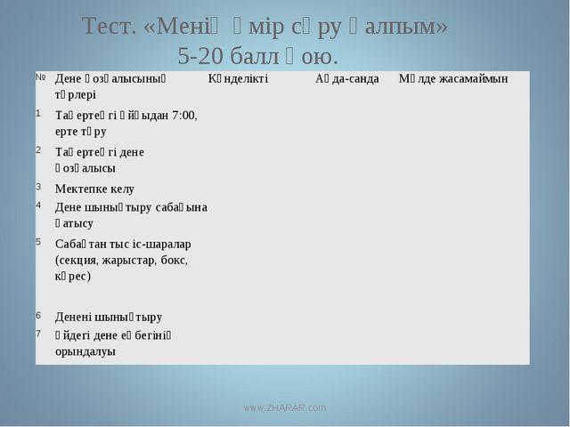 Тест. «Менің өмір сүру қалпым» 5-20 балл қою. www.ZHARAR.com №Дене қозғалысы...