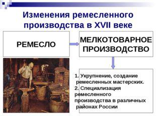 Изменения ремесленного производства в XVII веке РЕМЕСЛО МЕЛКОТОВАРНОЕ ПРОИЗВО
