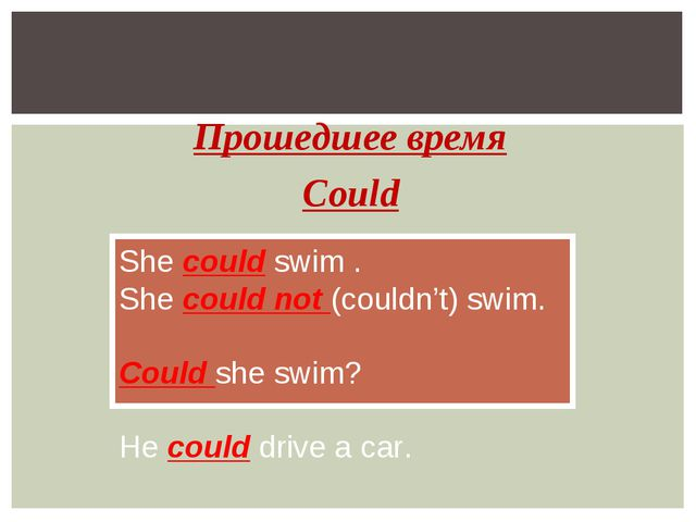Прошедшее время Could She could swim . She could not (couldn't) swim. Could s...