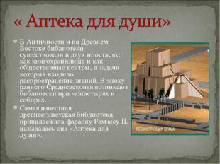 В Античности и на Древнем Востоке библиотеки существовали в двух ипостасях: к