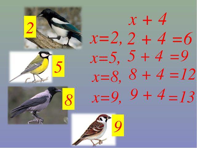 x + 4 9 8 5 2 х=9, х=8, х=5, х=2, 2 + 4 =6 5 + 4 =9 9 + 4 8 + 4 =12 =13