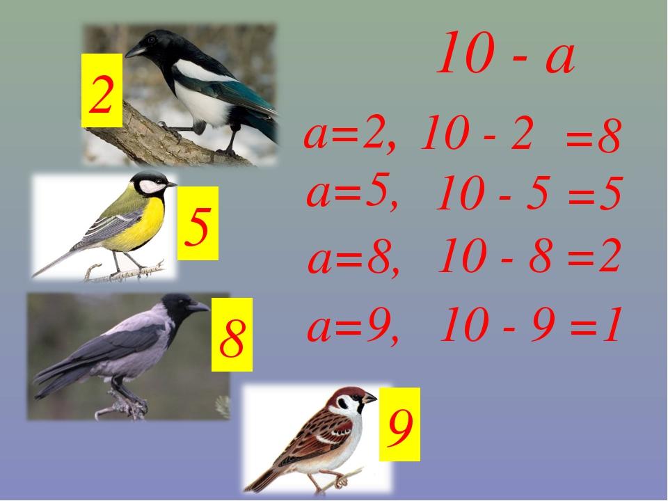 10 - а 9 8 5 2 а=9, а=8, а=5, а=2, 10 - 2 =8 10 - 5 =5 10 - 9 10 - 8 =2 =1