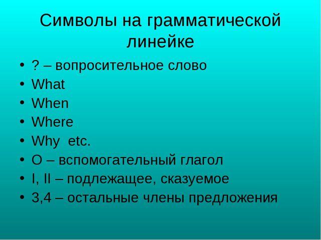Символы на грамматической линейке ? – вопросительное слово What When Where Wh...