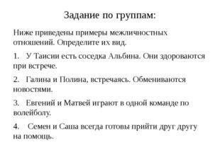 Задание по группам: Ниже приведены примеры межличностных отношений. Определит