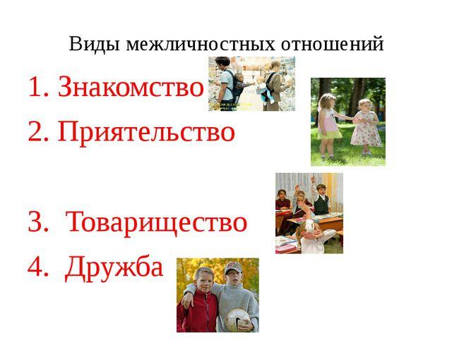 Виды межличностных отношений 1. Знакомство 2. Приятельство 3. Товарищество 4....