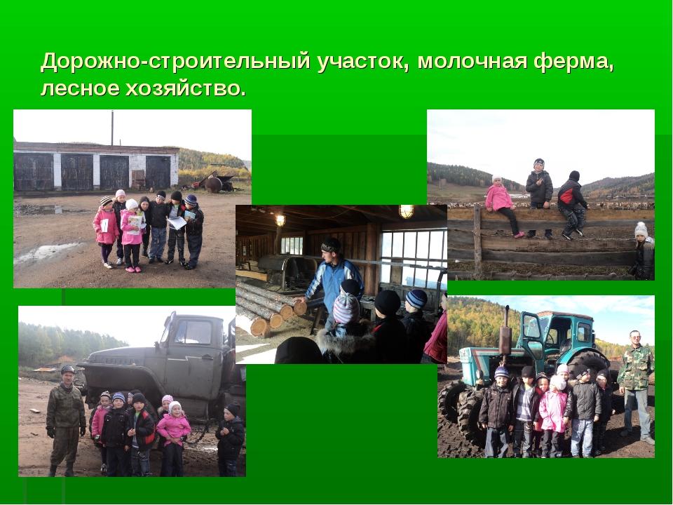 Дорожно-строительный участок, молочная ферма, лесное хозяйство.