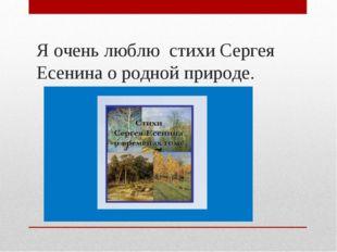 Я очень люблю стихи Сергея Есенина о родной природе.