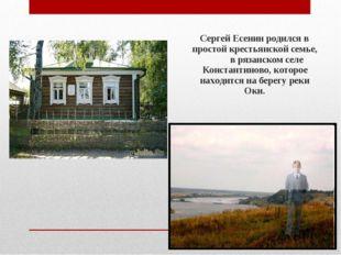 Сергей Есенин родился в простой крестьянской семье, в рязанском селе Констан