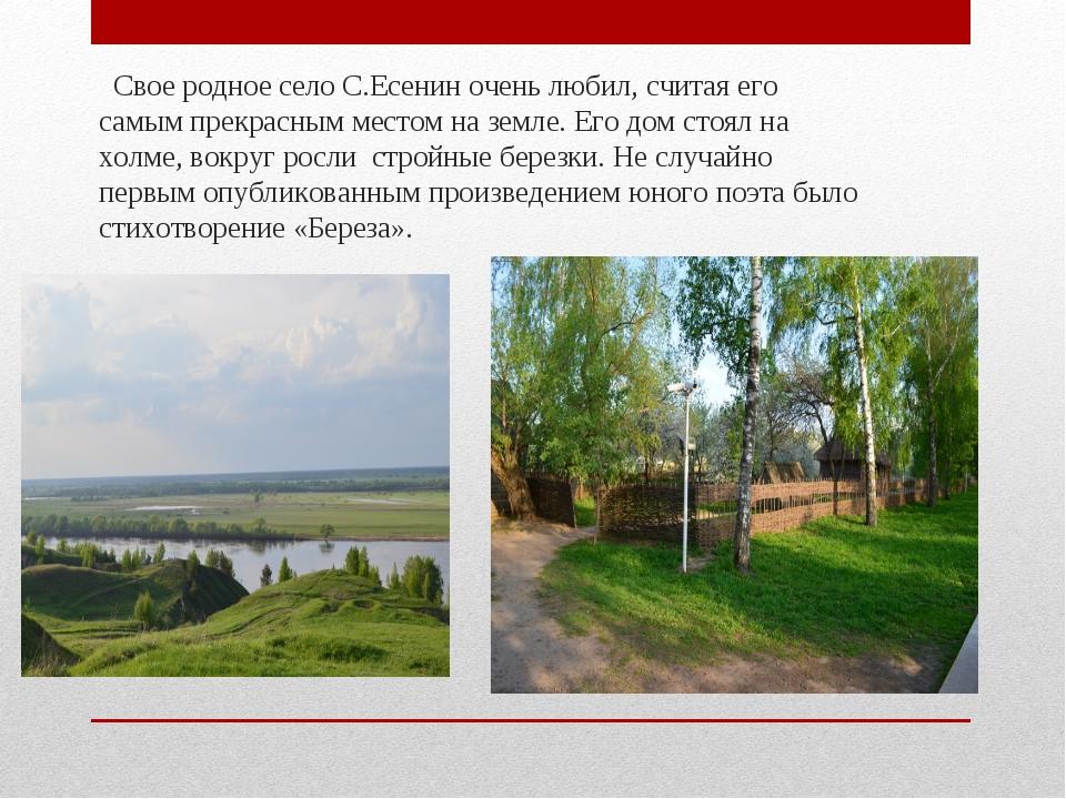 Свое родное село С.Есенин очень любил, считая его самым прекрасным местом на...