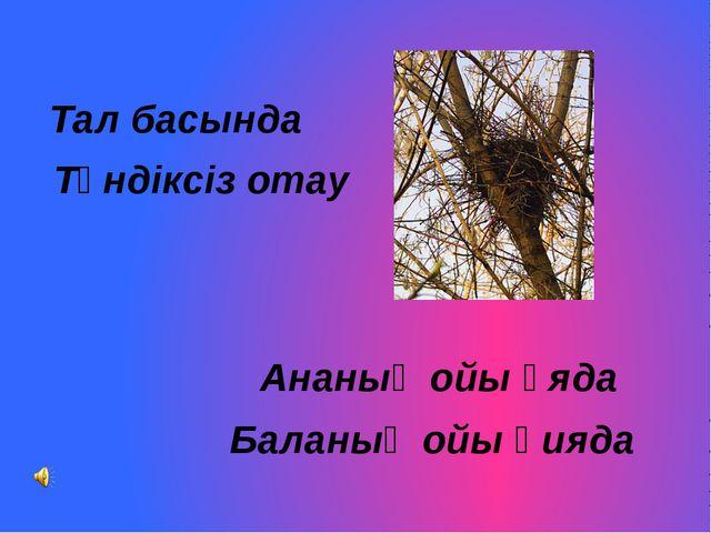 Тал басында Түндіксіз отау Ананың ойы ұяда Баланың ойы қияда