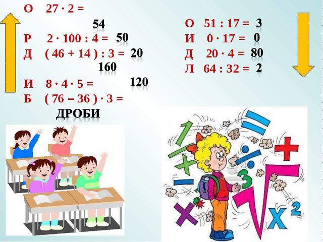 О 27 · 2 = Р 2 · 100 : 4 = Д ( 46 + 14 ) : 3 = И 8 · 4 · 5 = Б ( 76 – 36 ) ·...