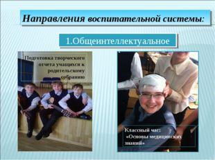 Направления воспитательной системы: 1.Общеинтеллектуальное Подготовка творчес