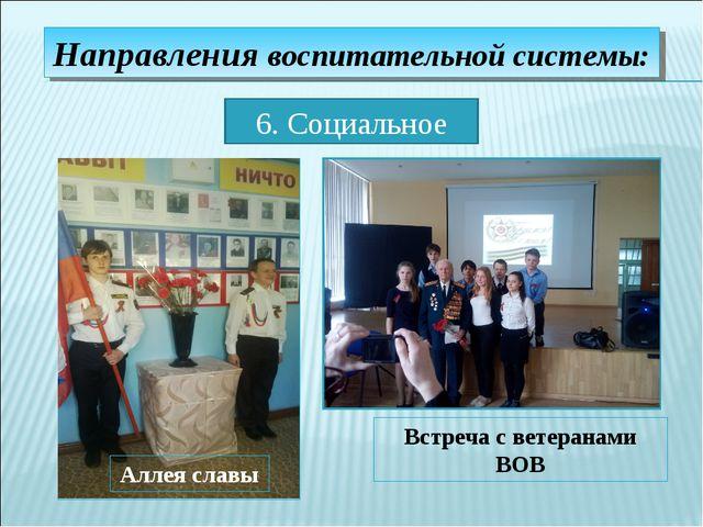 Направления воспитательной системы: 6. Социальное Аллея славы Встреча с ветер...