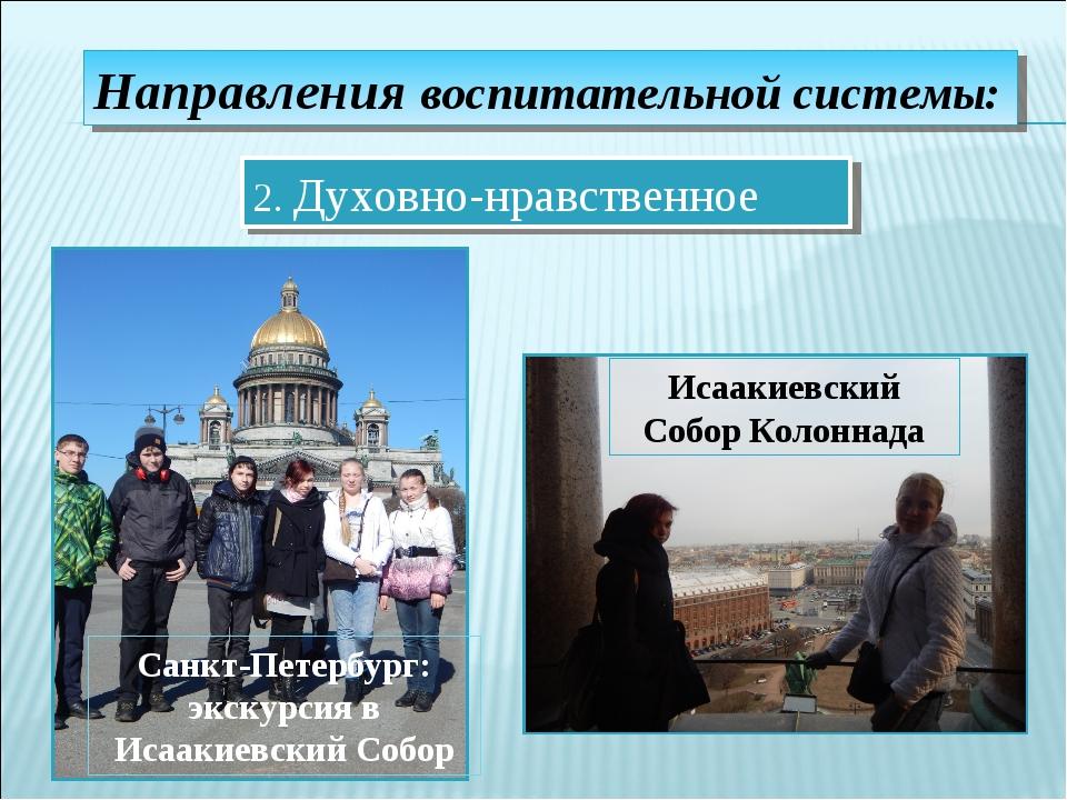 Направления воспитательной системы: 2. Духовно-нравственное Санкт-Петербург:...
