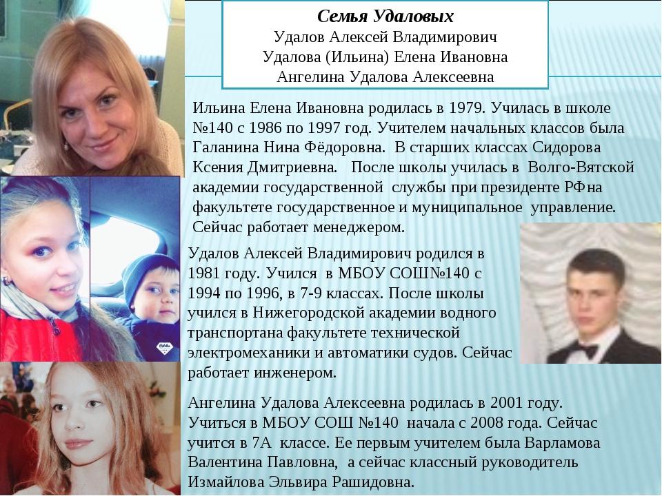Семья Удаловых Удалов Алексей Владимирович Удалова (Ильина) Елена Ивановна Ан...