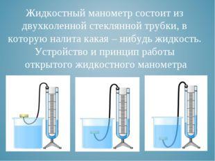Жидкостный манометр состоит из двухколенной стеклянной трубки, в которую нали