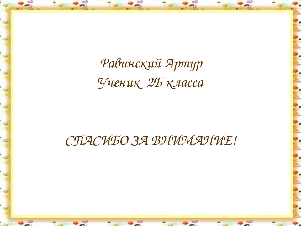 Равинский Артур Ученик 2Б класса СПАСИБО ЗА ВНИМАНИЕ!