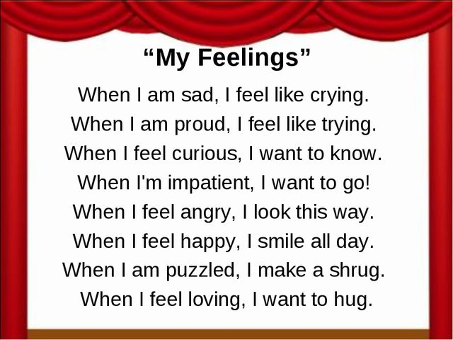 """My Feelings"" When I am sad, I feel like crying. When I am proud, I feel like..."