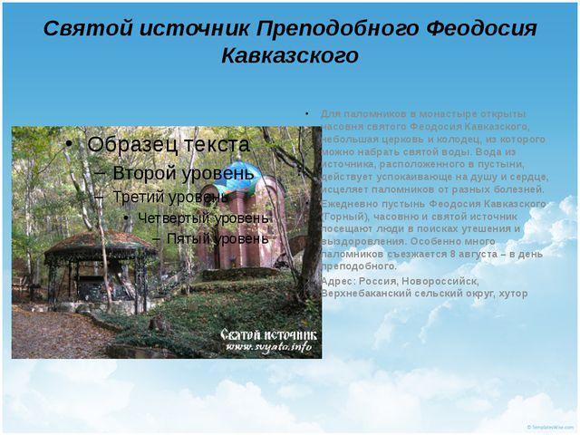 Святой источник Преподобного Феодосия Кавказского Для паломников в монастыре...