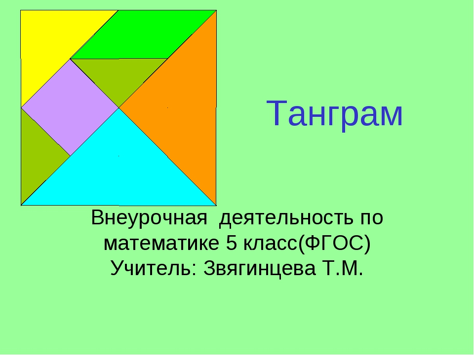 Танграм Внеурочная деятельность по математике 5 класс(ФГОС) Учитель: Звягинце...
