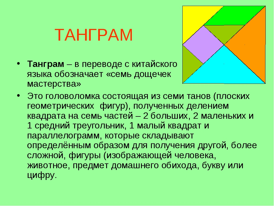 ТАНГРАМ Танграм – в переводе с китайского языка обозначает «семь дощечек маст...