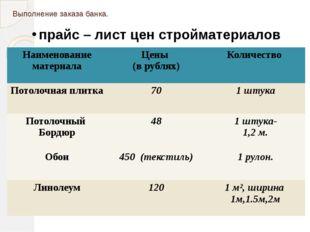Выполнение заказа банка. прайс – лист цен стройматериалов Наименование матери