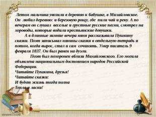 Летом мальчика увозили в деревню к бабушке, в Михайловское. Он любил деревню