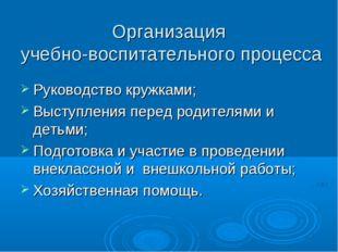 Организация учебно-воспитательного процесса Руководство кружками; Выступления