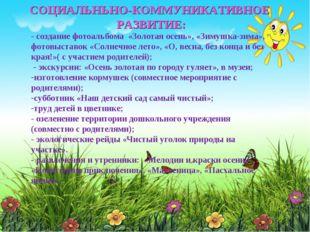 - создание фотоальбома «Золотая осень», «Зимушка-зима», фотовыставок «Солнеч