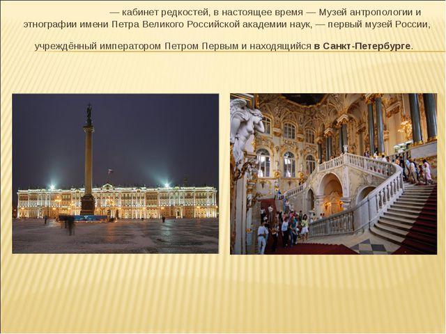 Кунстка́мера— кабинет редкостей, в настоящее время — Музейантропологии и эт...