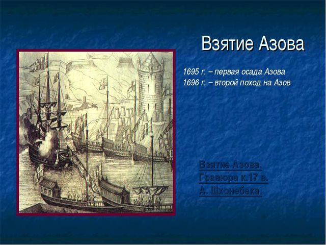Взятие Азова Взятие Азова. Гравюра к.17 в. А. Шхонебека. 1695 г. – первая оса...