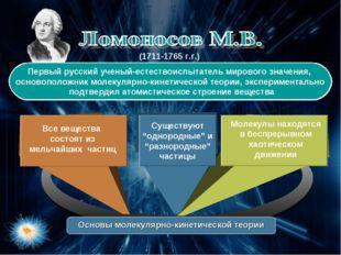 Первый русский ученый-естествоиспытатель мирового значения, основоположник м