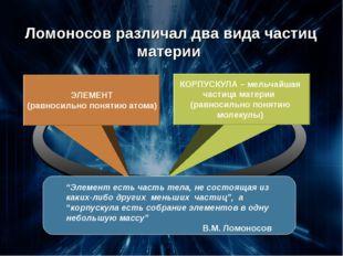 КОРПУСКУЛА – мельчайшая частица материи (равносильно понятию молекулы) ЭЛЕМЕ