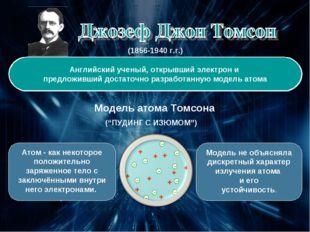(1856-1940 г.г.) Английский ученый, открывший электрон и предложивший достато